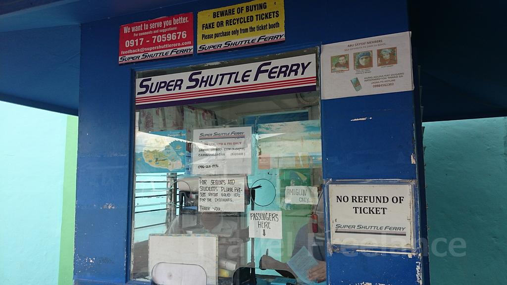 ハグナ港にあるスーパー・シャトル・フェリーのチケット売り場のブース